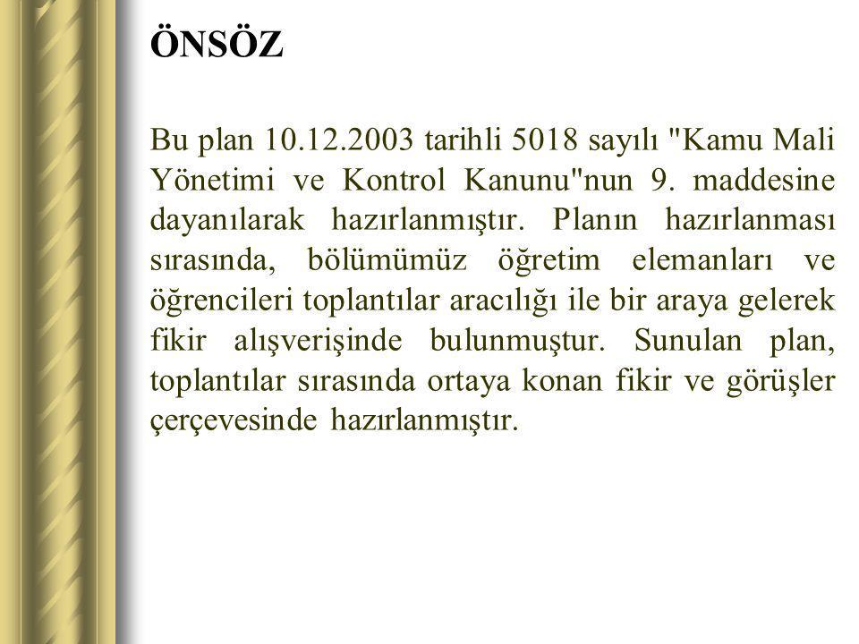 ÖNSÖZ Bu plan 10.12.2003 tarihli 5018 sayılı