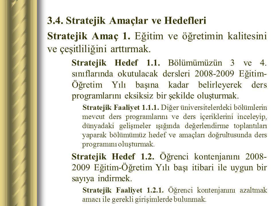 3.4. Stratejik Amaçlar ve Hedefleri Stratejik Amaç 1. Eğitim ve öğretimin kalitesini ve çeşitliliğini arttırmak. Stratejik Hedef 1.1. Bölümümüzün 3 ve