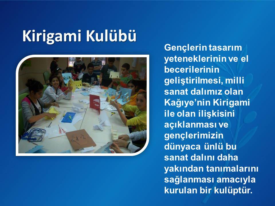 Kirigami Kulübü Gençlerin tasarım yeteneklerinin ve el becerilerinin geliştirilmesi, milli sanat dalımız olan Kağıye'nin Kirigami ile olan ilişkisini