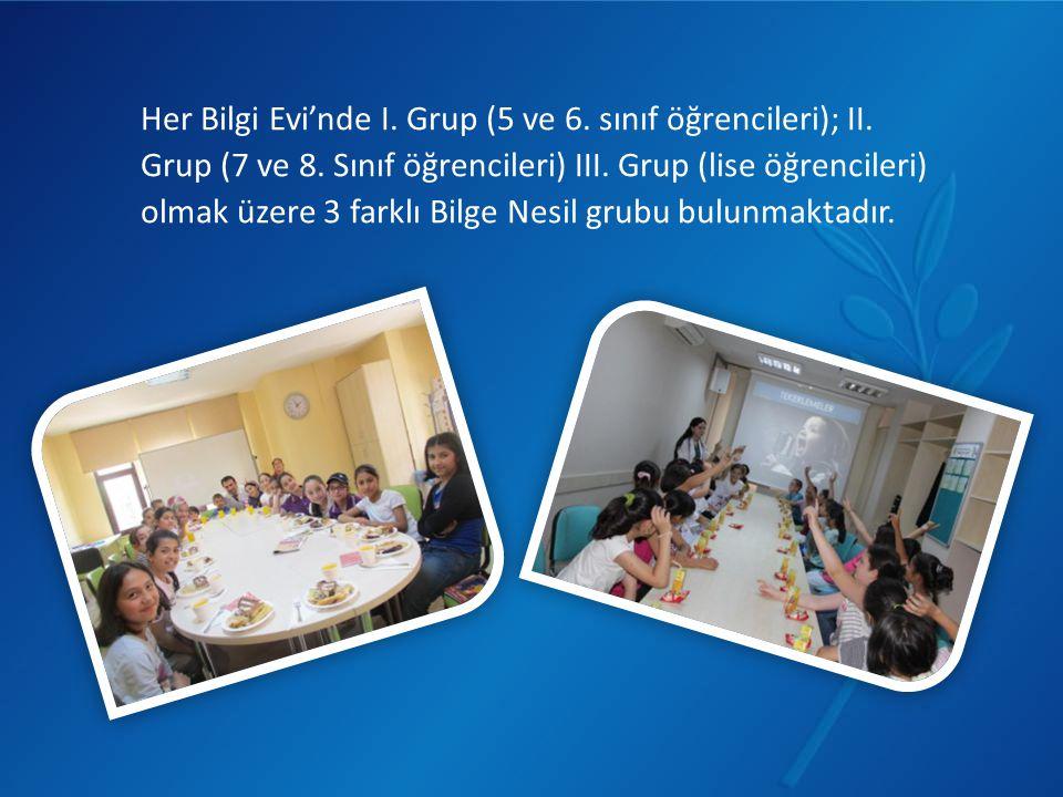 Her Bilgi Evi'nde I. Grup (5 ve 6. sınıf öğrencileri); II. Grup (7 ve 8. Sınıf öğrencileri) III. Grup (lise öğrencileri) olmak üzere 3 farklı Bilge Ne