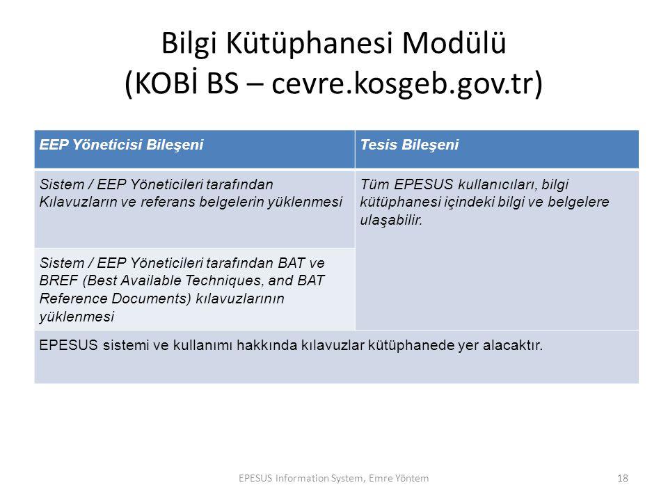 Bilgi Kütüphanesi Modülü (KOBİ BS – cevre.kosgeb.gov.tr) EEP Yöneticisi BileşeniTesis Bileşeni Sistem / EEP Yöneticileri tarafından Kılavuzların ve re