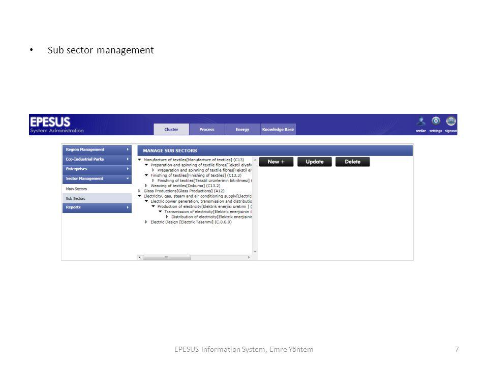 Sub sector management 7EPESUS Information System, Emre Yöntem