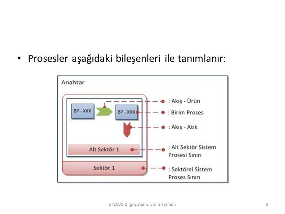 Prosesler aşağıdaki bileşenleri ile tanımlanır: EPESUS Bilgi Sistemi, Emre Yöntem9