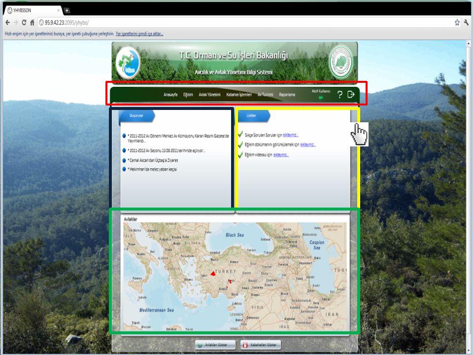http:/avbis.ormansu.gov.tr Adresiyle sisteme ulaşılmaktadır. Kullanıcı adı ve parola girildikten sonra simgesine tıklanarak sisteme giriş yapılır.