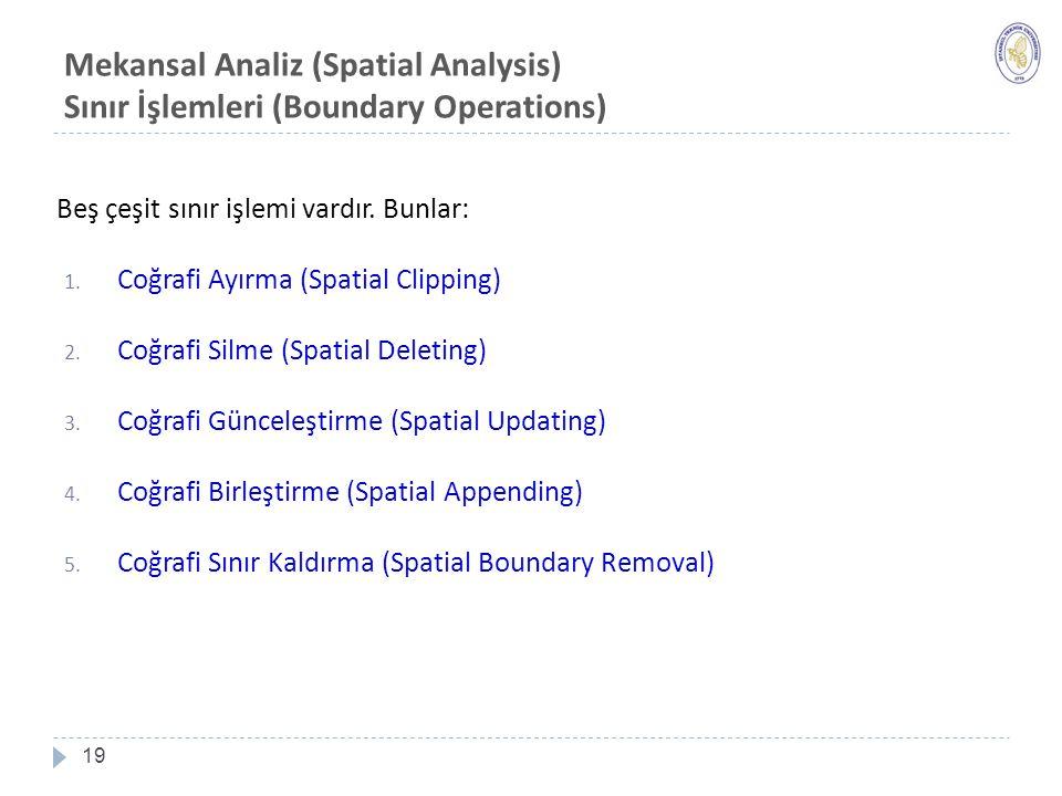 Mekansal Analiz (Spatial Analysis) Sınır İşlemleri (Boundary Operations) 19 Beş çeşit sınır işlemi vardır.