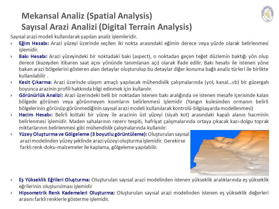 Mekansal Analiz (Spatial Analysis) Sayısal Arazi Analizi (Digital Terrain Analysis) 21 Sayısal arazi modeli kullanılarak yapılan analiz işlemleridir.