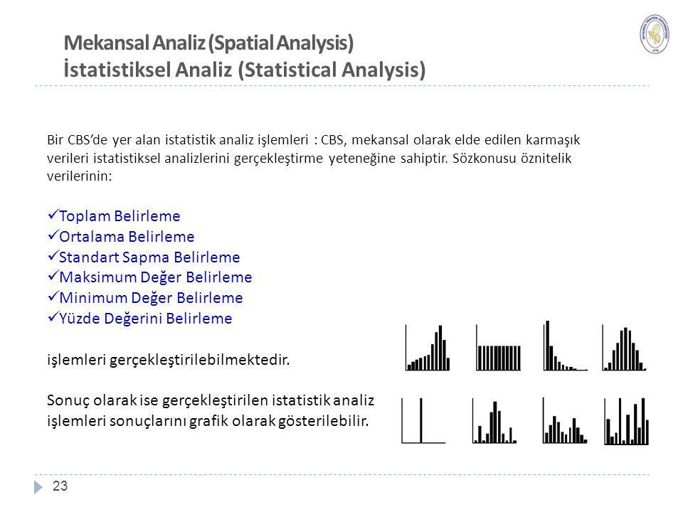 23 Mekansal Analiz (Spatial Analysis) İstatistiksel Analiz (Statistical Analysis) Bir CBS'de yer alan istatistik analiz işlemleri : CBS, mekansal olarak elde edilen karmaşık verileri istatistiksel analizlerini gerçekleştirme yeteneğine sahiptir.