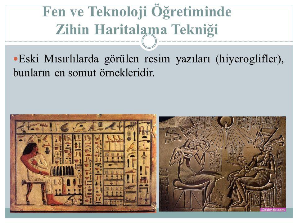 Fen ve Teknoloji Öğretiminde Zihin Haritalama Tekniği Eski Mısırlılarda görülen resim yazıları (hiyeroglifler), bunların en somut örnekleridir.