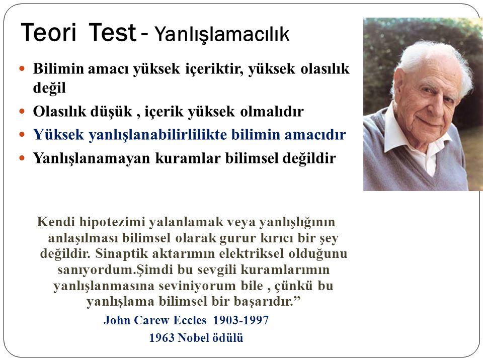 Teori Test - Yanlışlamacılık Bilimin amacı yüksek içeriktir, yüksek olasılık değil Olasılık düşük, içerik yüksek olmalıdır Yüksek yanlışlanabilirlilik