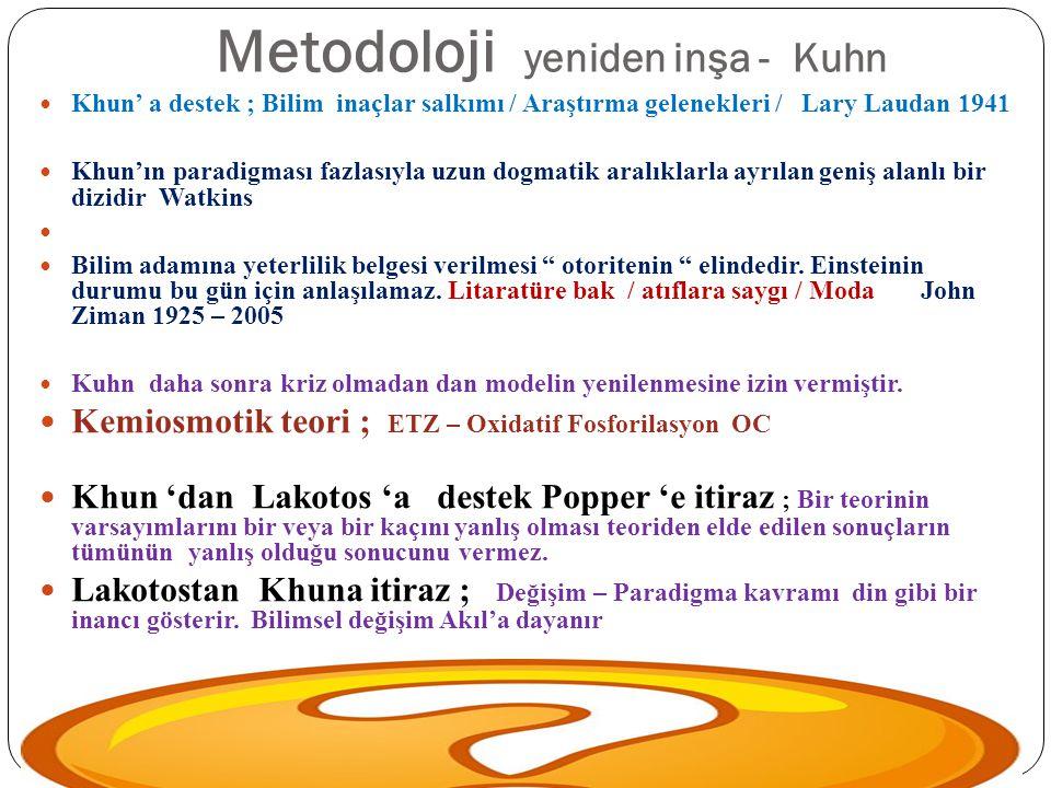 Metodoloji yeniden inşa - Kuhn Khun' a destek ; Bilim inaçlar salkımı / Araştırma gelenekleri / Lary Laudan 1941 Khun'ın paradigması fazlasıyla uzun d
