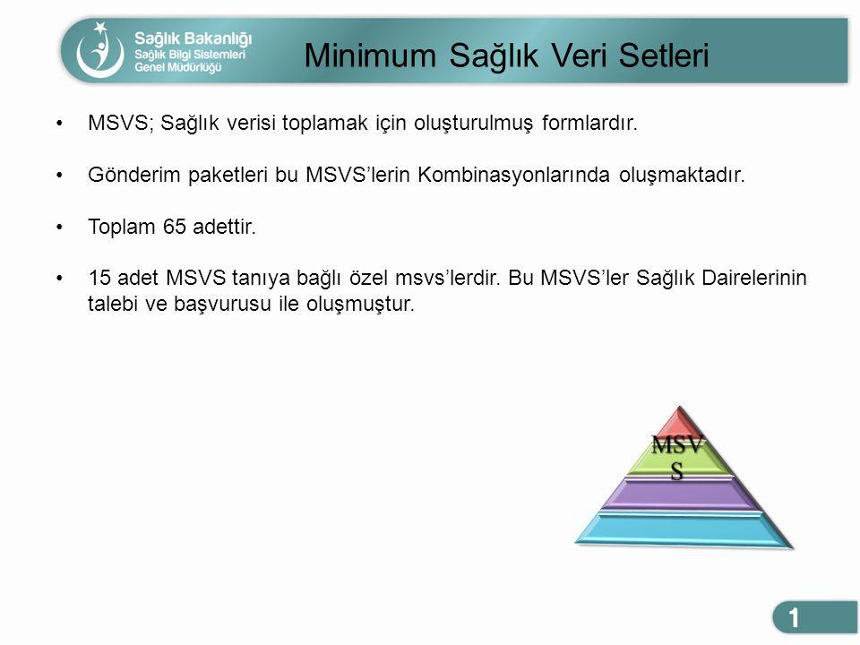 Minimum Sağlık Veri Setleri MSVS; Sağlık verisi toplamak için oluşturulmuş formlardır. Gönderim paketleri bu MSVS'lerin Kombinasyonlarında oluşmaktadı