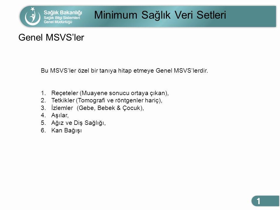 Minimum Sağlık Veri Setleri Genel MSVS'ler Bu MSVS'ler özel bir tanıya hitap etmeye Genel MSVS'lerdir. 1.Reçeteler (Muayene sonucu ortaya çıkan), 2.Te