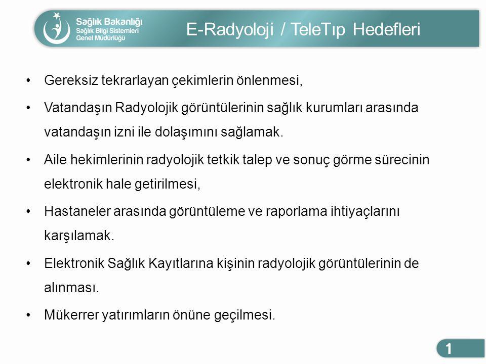 E-Radyoloji / TeleTıp Hedefleri Gereksiz tekrarlayan çekimlerin önlenmesi, Vatandaşın Radyolojik görüntülerinin sağlık kurumları arasında vatandaşın i