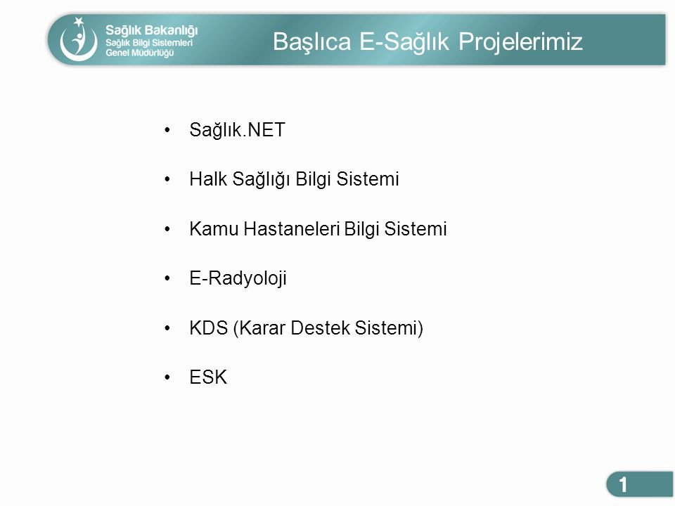 Başlıca E-Sağlık Projelerimiz Sağlık.NET Halk Sağlığı Bilgi Sistemi Kamu Hastaneleri Bilgi Sistemi E-Radyoloji KDS (Karar Destek Sistemi) ESK