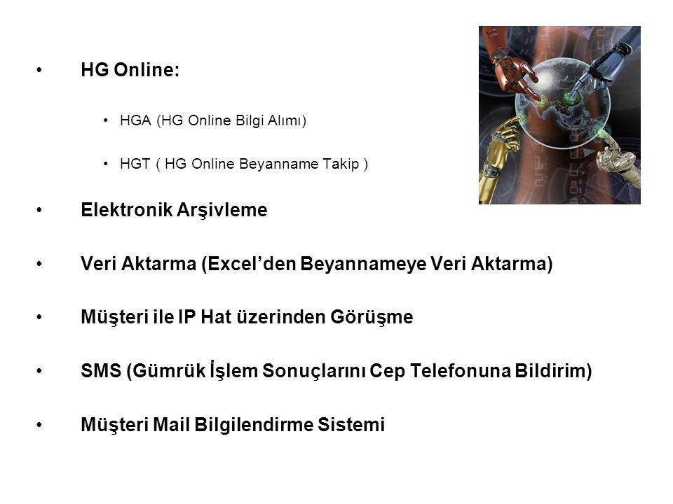 HG Online: HGA (HG Online Bilgi Alımı) HGT ( HG Online Beyanname Takip ) Elektronik Arşivleme Veri Aktarma (Excel'den Beyannameye Veri Aktarma) Müşteri ile IP Hat üzerinden Görüşme SMS (Gümrük İşlem Sonuçlarını Cep Telefonuna Bildirim) Müşteri Mail Bilgilendirme Sistemi