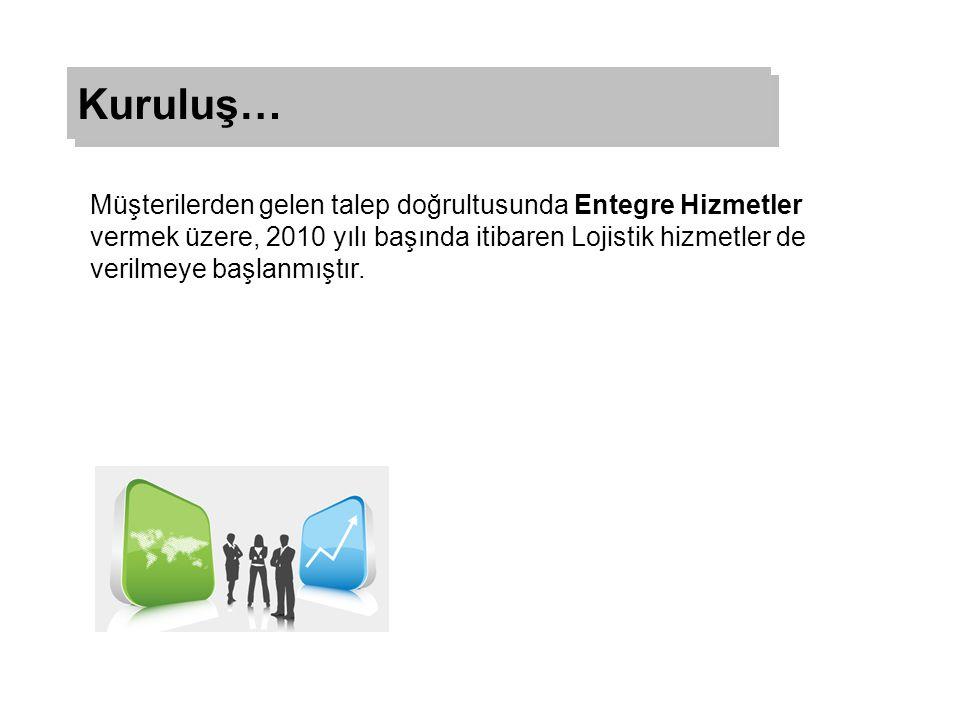 Müşterilerden gelen talep doğrultusunda Entegre Hizmetler vermek üzere, 2010 yılı başında itibaren Lojistik hizmetler de verilmeye başlanmıştır.