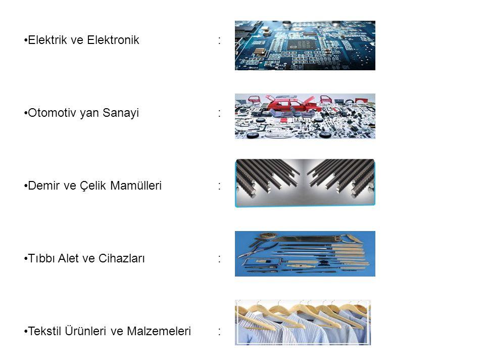 Elektrik ve Elektronik: Otomotiv yan Sanayi : Demir ve Çelik Mamülleri: Tıbbı Alet ve Cihazları: Tekstil Ürünleri ve Malzemeleri:
