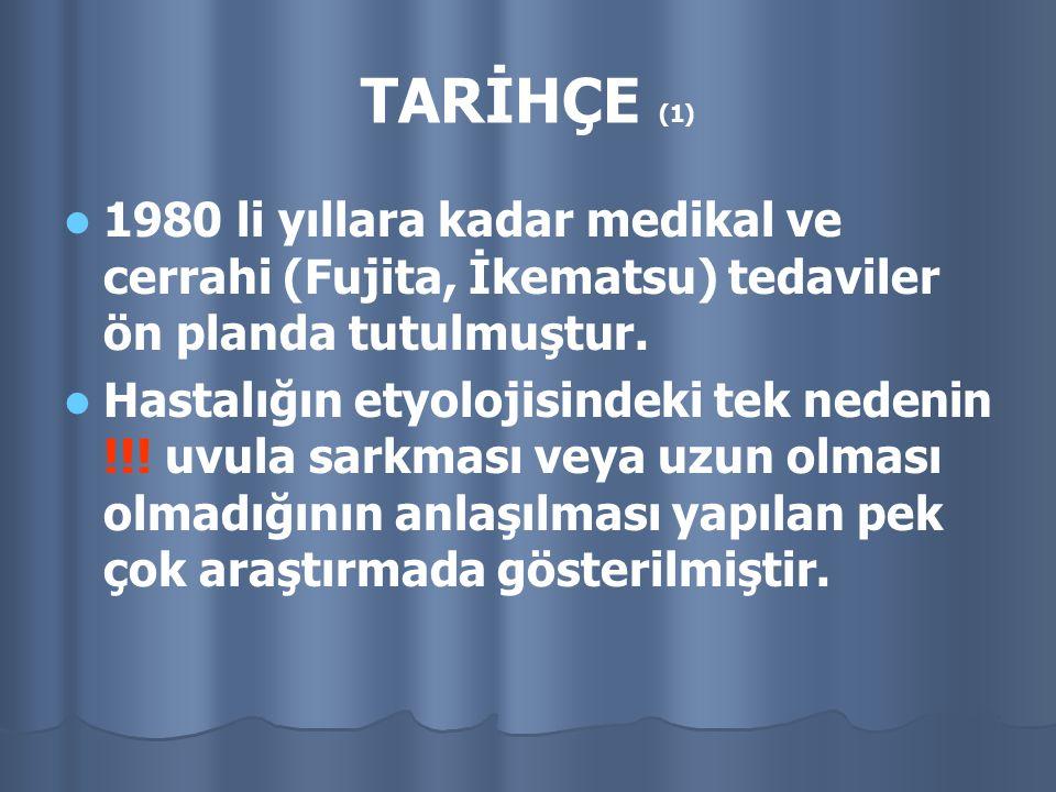 TARİHÇE (1) 1980 li yıllara kadar medikal ve cerrahi (Fujita, İkematsu) tedaviler ön planda tutulmuştur. Hastalığın etyolojisindeki tek nedenin !!! uv
