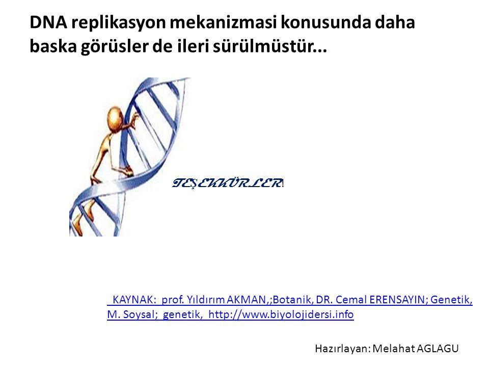 KAYNAK: prof. Yıldırım AKMAN,;Botanik, DR. Cemal ERENSAYIN; Genetik, M. Soysal; genetik, http://www.biyolojidersi.info DNA replikasyon mekanizmasi kon