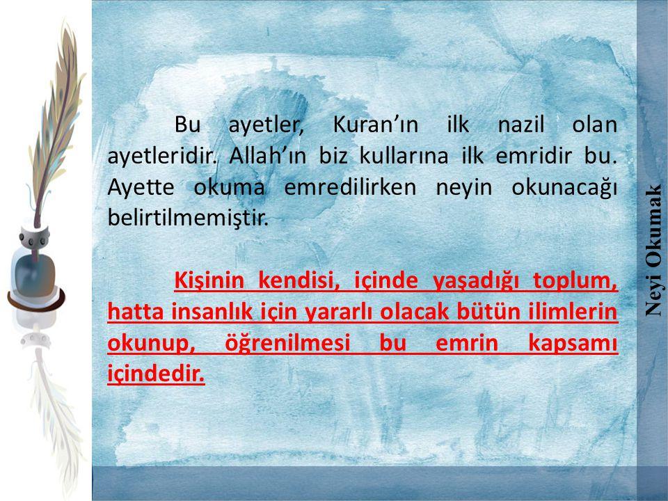 Bu ayetler, Kuran'ın ilk nazil olan ayetleridir. Allah'ın biz kullarına ilk emridir bu. Ayette okuma emredilirken neyin okunacağı belirtilmemiştir. Ki