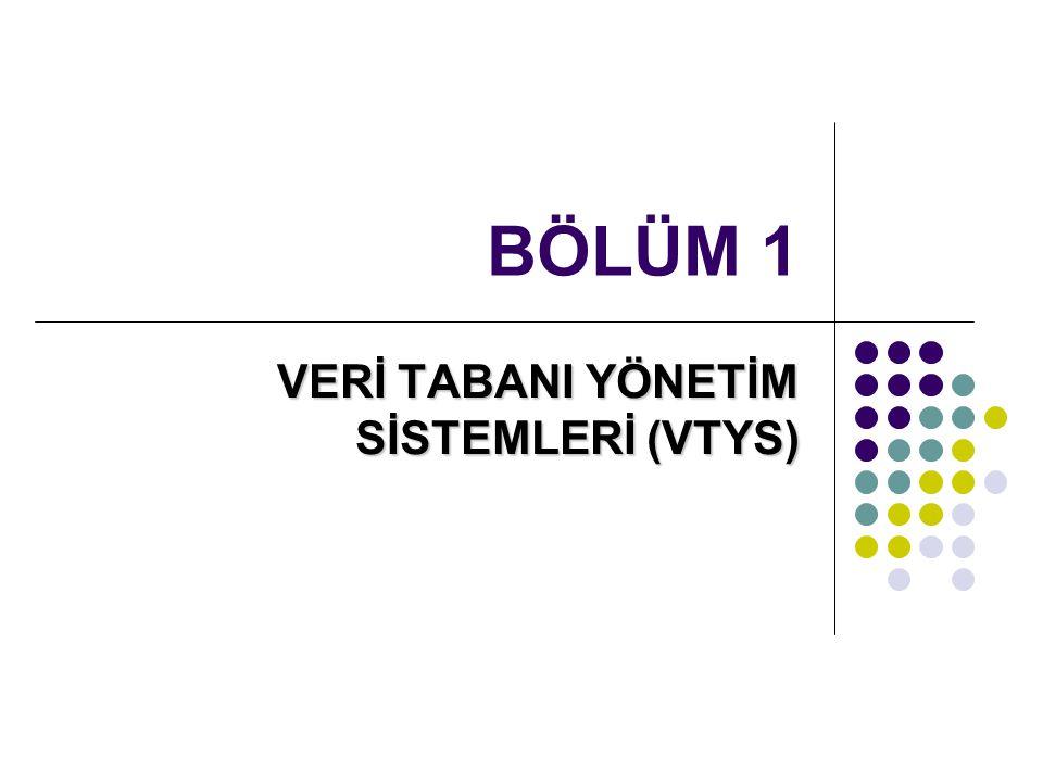BÖLÜM 1 VERİ TABANI YÖNETİM SİSTEMLERİ (VTYS)