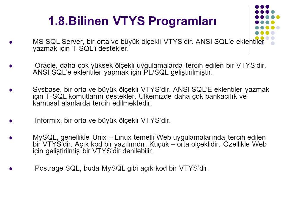 1.8.Bilinen VTYS Programları MS SQL Server, bir orta ve büyük ölçekli VTYS'dir. ANSI SQL'e eklentiler yazmak için T-SQL'i destekler. Oracle, daha çok