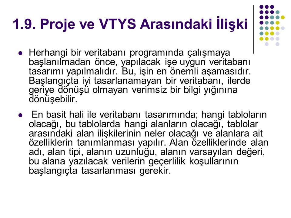 1.9. Proje ve VTYS Arasındaki İlişki Herhangi bir veritabanı programında çalışmaya başlanılmadan önce, yapılacak işe uygun veritabanı tasarımı yapılma