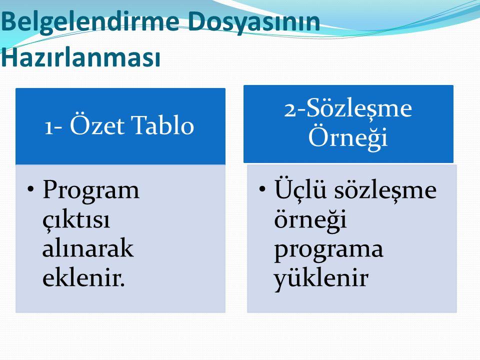 Belgelendirme Dosyasının Hazırlanması 1- Özet Tablo Program çıktısı alınarak eklenir. 2-Sözleşme Örneği Üçlü sözleşme örneği programa yüklenir