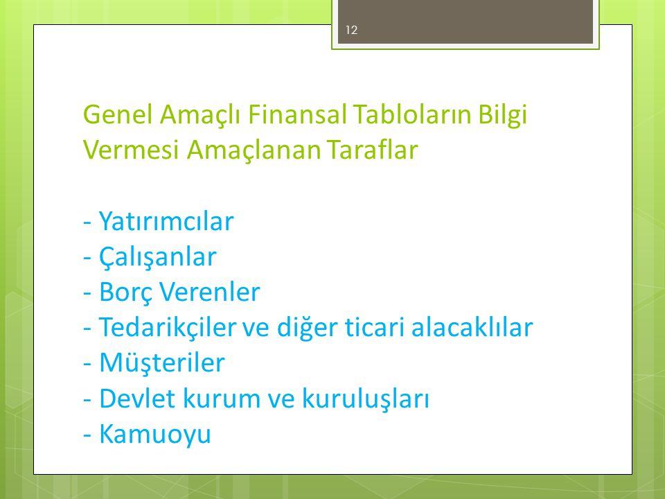 Genel Amaçlı Finansal Tabloların Bilgi Vermesi Amaçlanan Taraflar - Yatırımcılar - Çalışanlar - Borç Verenler - Tedarikçiler ve diğer ticari alacaklılar - Müşteriler - Devlet kurum ve kuruluşları - Kamuoyu 12