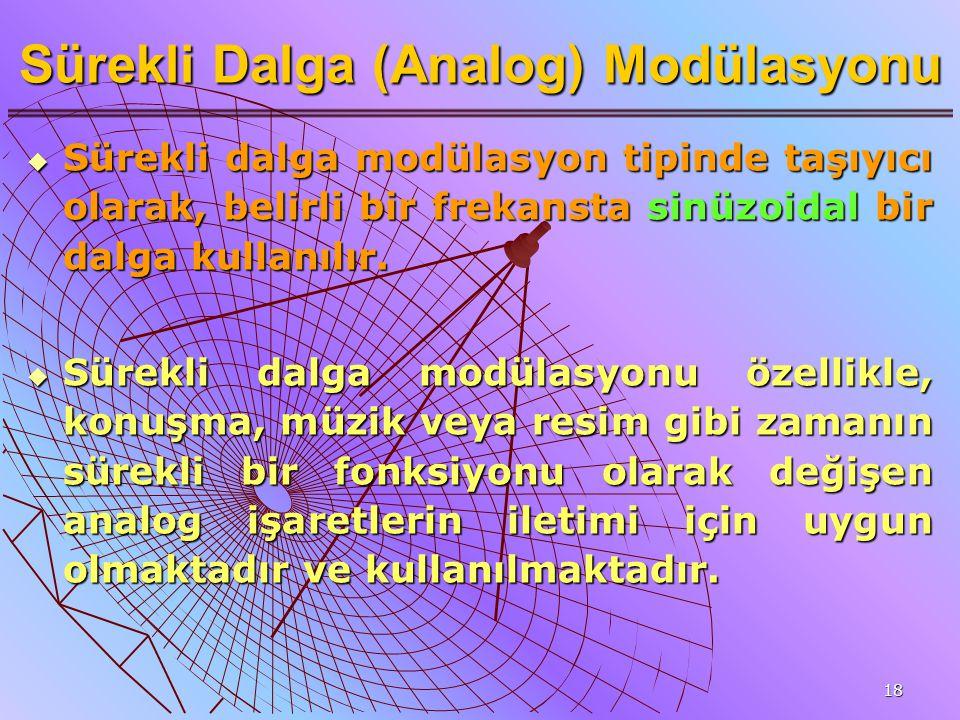18 Sürekli Dalga (Analog) Modülasyonu  Sürekli dalga modülasyon tipinde taşıyıcı olarak, belirli bir frekansta sinüzoidal bir dalga kullanılır.  Sür
