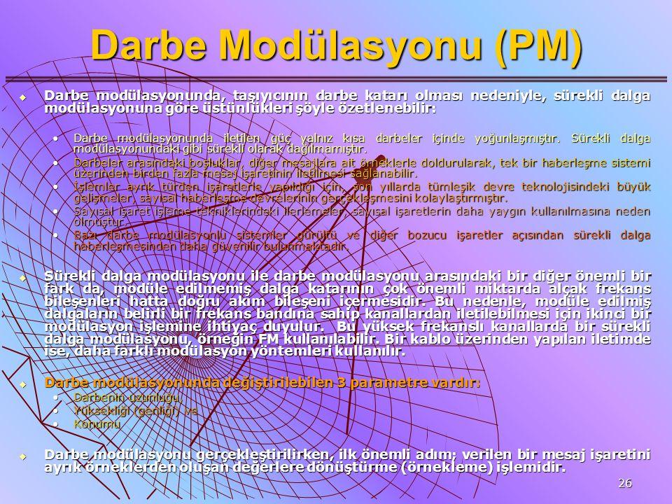 26 Darbe Modülasyonu (PM)  Darbe modülasyonunda, taşıyıcının darbe katarı olması nedeniyle, sürekli dalga modülasyonuna göre üstünlükleri şöyle özetl