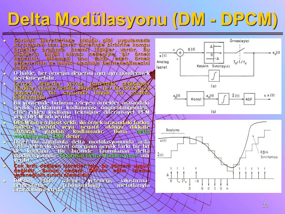 33 Delta Modülasyonu (DM - DPCM)  Görüntü işaretlerinde olduğu gibi uygulamada karşılaşılan bazı işaret türlerinde birbirine komşu örnekler arasında