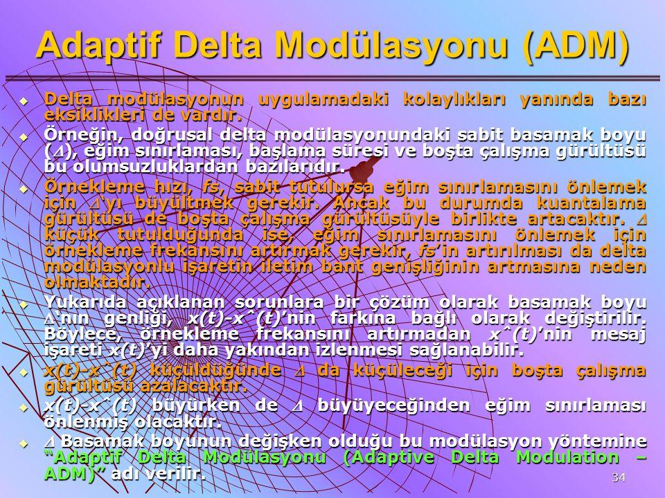 34 Adaptif Delta Modülasyonu (ADM)  Delta modülasyonun uygulamadaki kolaylıkları yanında bazı eksiklikleri de vardır.  Örneğin, doğrusal delta modül