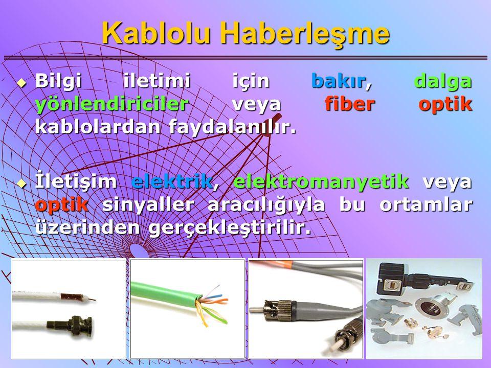 4 Kablolu Haberleşme  Bilgi iletimi için bakır, dalga yönlendiriciler veya fiber optik kablolardan faydalanılır.  İletişim elektrik, elektromanyetik