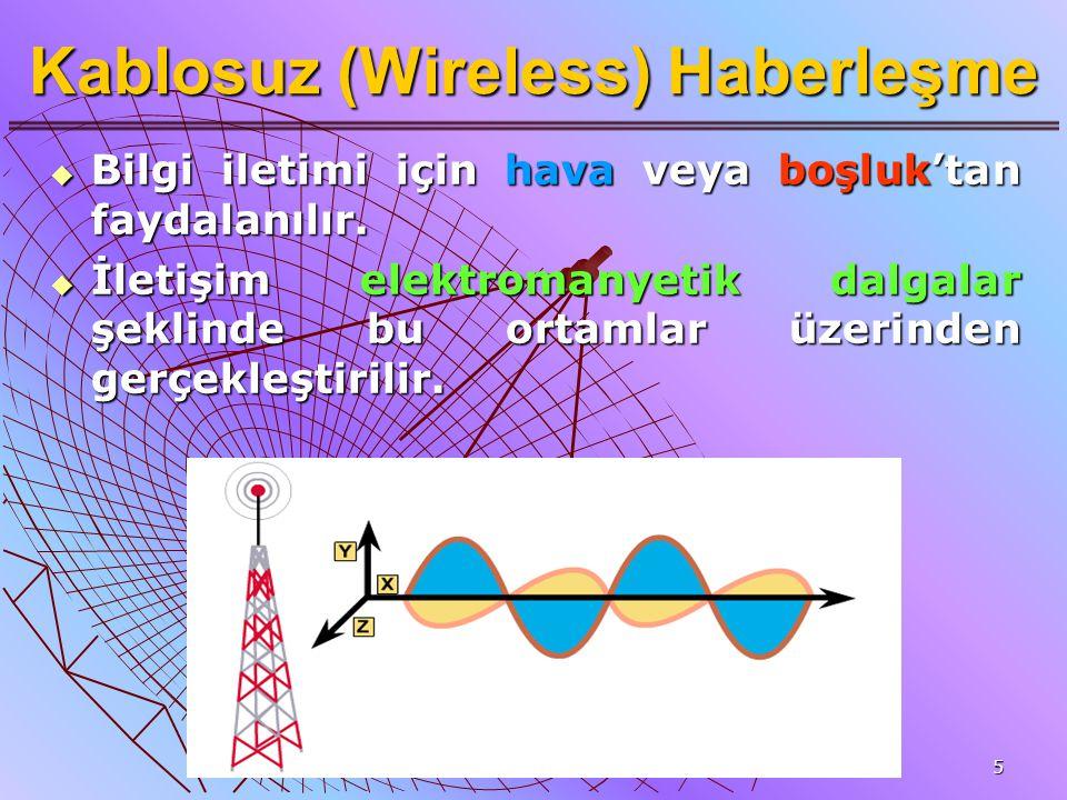 5 Kablosuz (Wireless) Haberleşme  Bilgi iletimi için hava veya boşluk'tan faydalanılır.  İletişim elektromanyetik dalgalar şeklinde bu ortamlar üzer