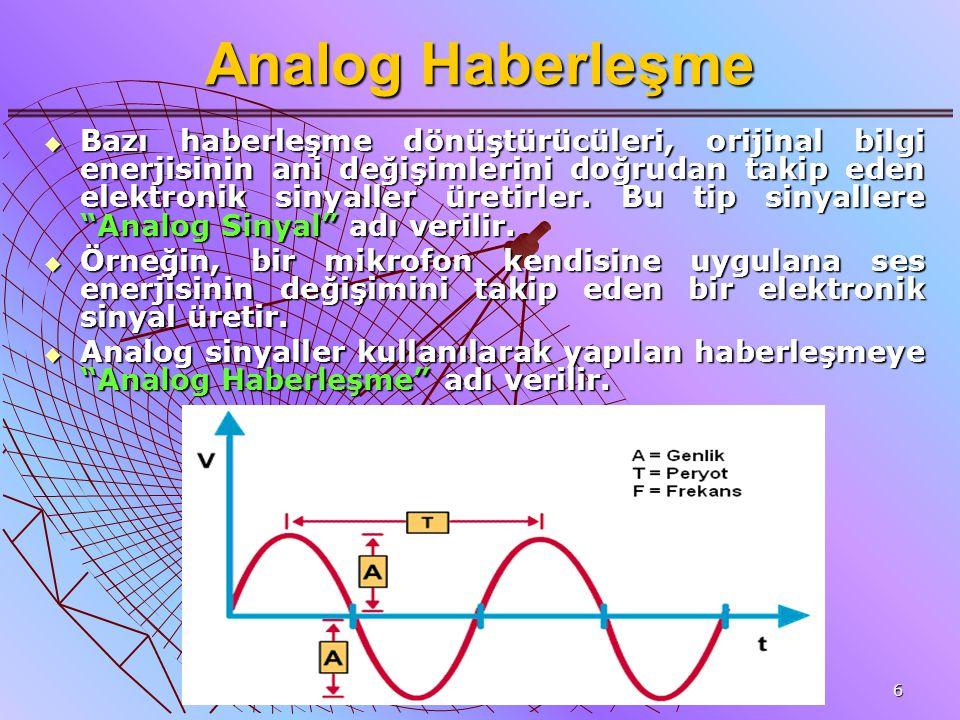 6 Analog Haberleşme  Bazı haberleşme dönüştürücüleri, orijinal bilgi enerjisinin ani değişimlerini doğrudan takip eden elektronik sinyaller üretirler