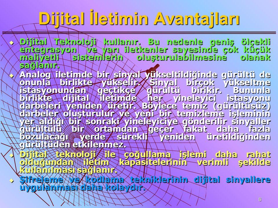 8 Dijital İletimin Avantajları  Dijital Teknoloji kullanır. Bu nedenle geniş ölçekli entegrasyon ve yarı iletkenler sayesinde çok küçük maliyetli sis