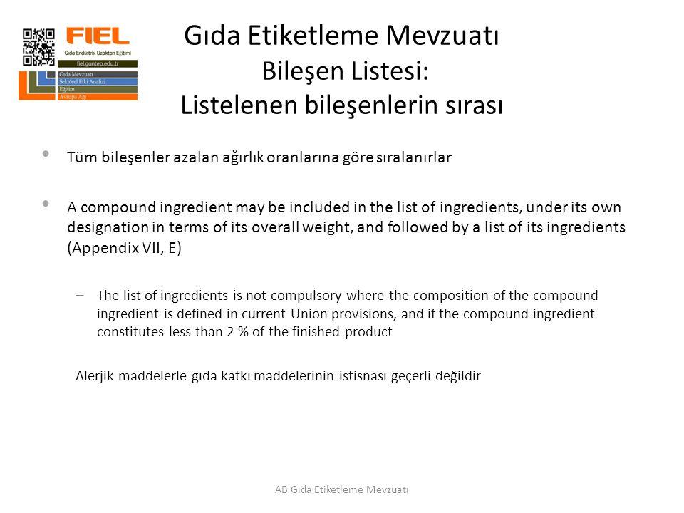 Gıda Etiketleme Mevzuatı Bileşen Listesi: Listelenen bileşenlerin sırası Tüm bileşenler azalan ağırlık oranlarına göre sıralanırlar A compound ingredi