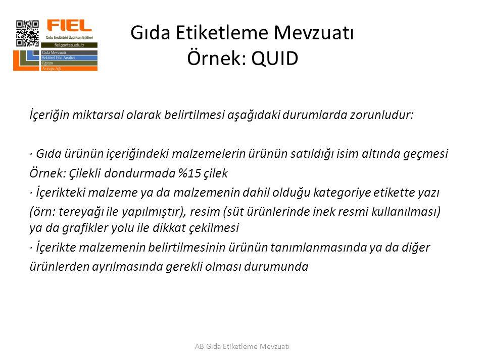 Gıda Etiketleme Mevzuatı Örnek: QUID AB Gıda Etiketleme Mevzuatı İçeriğin miktarsal olarak belirtilmesi aşağıdaki durumlarda zorunludur: · Gıda ürünün