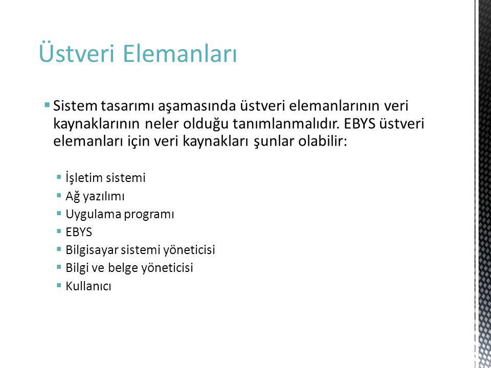 Üstveri Elemanları  Sistem tasarımı aşamasında üstveri elemanlarının veri kaynaklarının neler olduğu tanımlanmalıdır. EBYS üstveri elemanları için ve