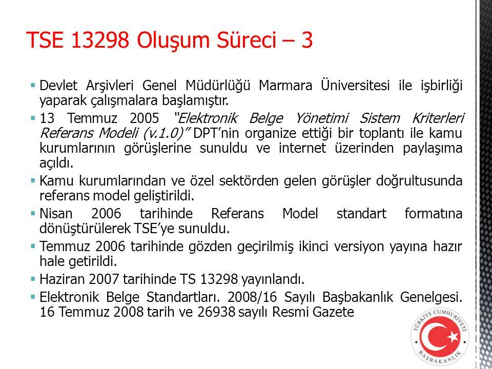 """TSE 13298 Oluşum Süreci – 3  Devlet Arşivleri Genel Müdürlüğü Marmara Üniversitesi ile işbirliği yaparak çalışmalara başlamıştır.  13 Temmuz 2005 """"E"""