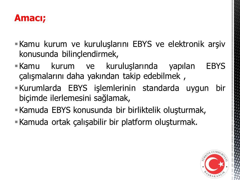Amacı;  Kamu kurum ve kuruluşlarını EBYS ve elektronik arşiv konusunda bilinçlendirmek,  Kamu kurum ve kuruluşlarında yapılan EBYS çalışmalarını dah