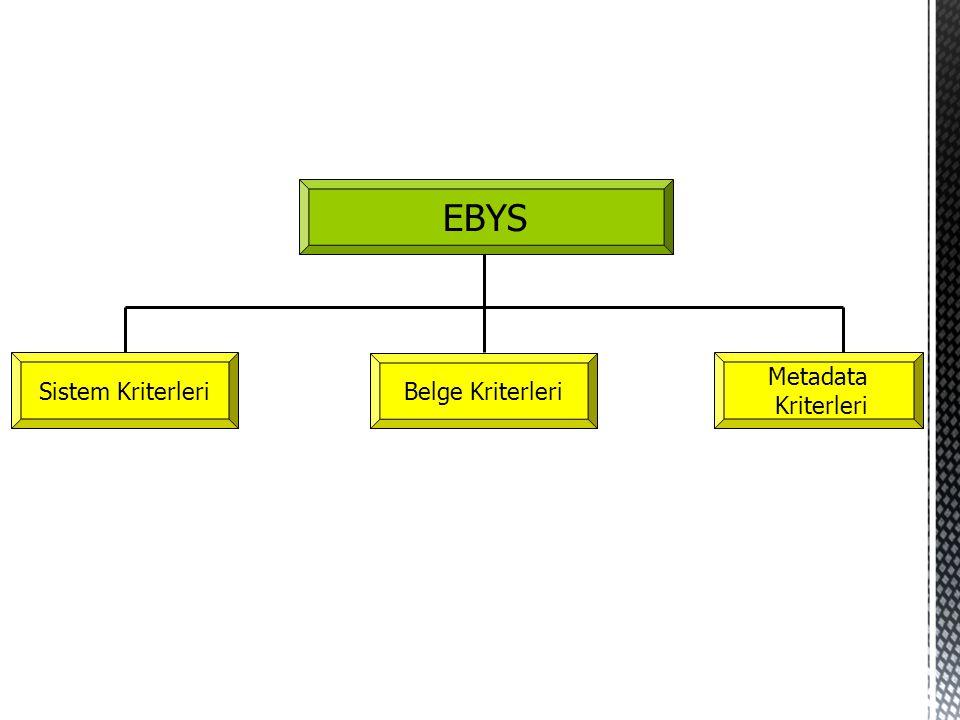 EBYS Sistem Kriterleri Belge Kriterleri Metadata Kriterleri
