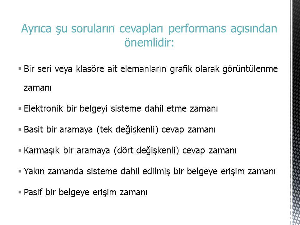Ayrıca şu soruların cevapları performans açısından önemlidir:  Bir seri veya klasöre ait elemanların grafik olarak görüntülenme zamanı  Elektronik b