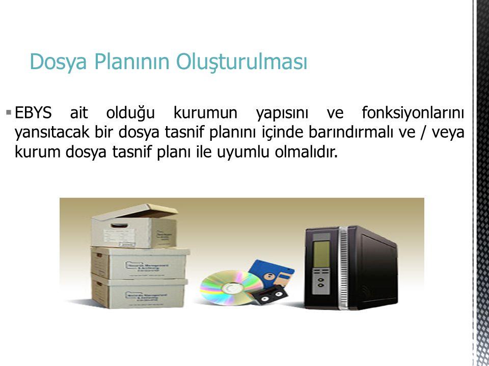 Dosya Planının Oluşturulması  EBYS ait olduğu kurumun yapısını ve fonksiyonlarını yansıtacak bir dosya tasnif planını içinde barındırmalı ve / veya k