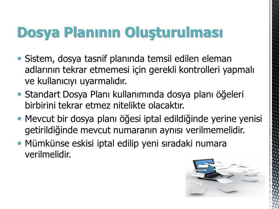 Dosya Planının Oluşturulması Sistem, dosya tasnif planında temsil edilen eleman adlarının tekrar etmemesi için gerekli kontrolleri yapmalı ve kullanıc