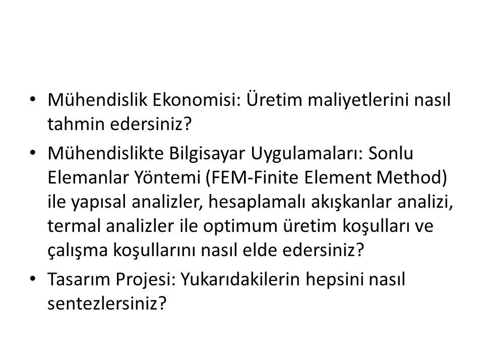Mühendislik Ekonomisi: Üretim maliyetlerini nasıl tahmin edersiniz? Mühendislikte Bilgisayar Uygulamaları: Sonlu Elemanlar Yöntemi (FEM-Finite Element