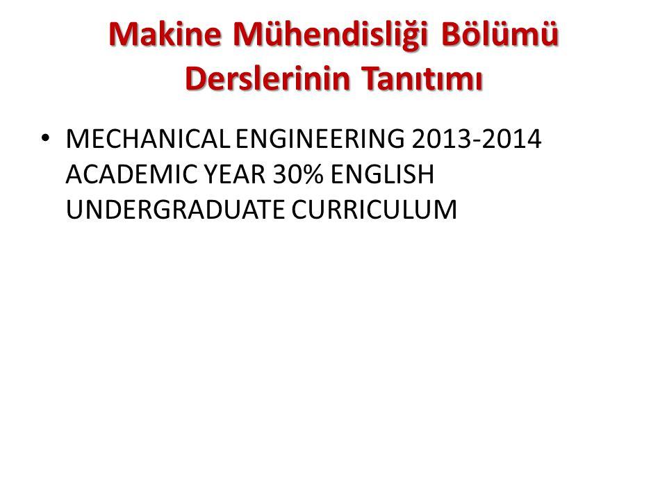 Makine Mühendisliği Bölümü Derslerinin Tanıtımı MECHANICAL ENGINEERING 2013-2014 ACADEMIC YEAR 30% ENGLISH UNDERGRADUATE CURRICULUM