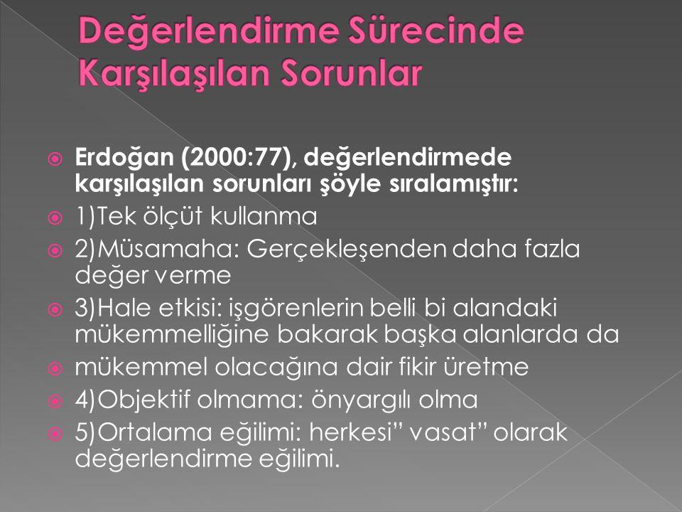  Erdoğan (2000:77), değerlendirmede karşılaşılan sorunları şöyle sıralamıştır:  1)Tek ölçüt kullanma  2)Müsamaha: Gerçekleşenden daha fazla değer v
