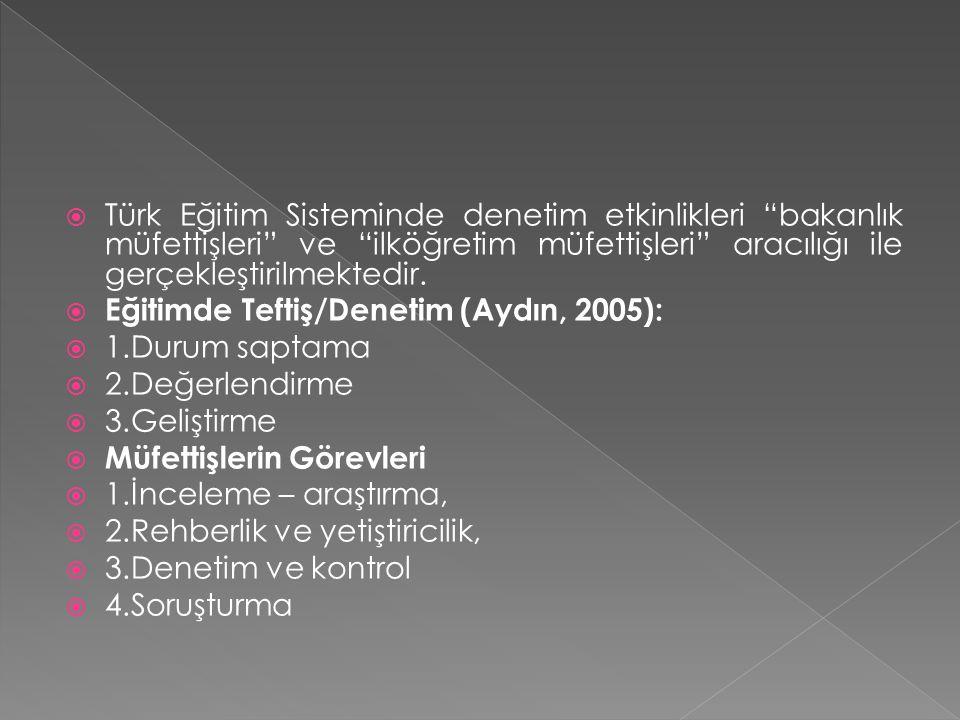 """ Türk Eğitim Sisteminde denetim etkinlikleri """"bakanlık müfettişleri"""" ve """"ilköğretim müfettişleri"""" aracılığı ile gerçekleştirilmektedir.  Eğitimde Te"""